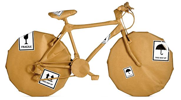 Bicicleta empaquetada para enviar